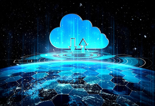 Cloud computing-technologie en online gegevensopslag in innovatieve perceptie