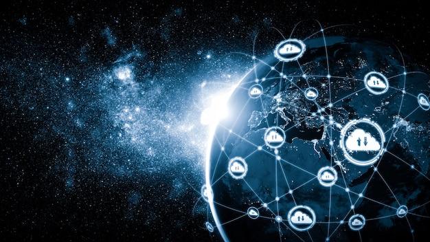 Cloud computing-technologie en online gegevensopslag in innovatieve perceptie