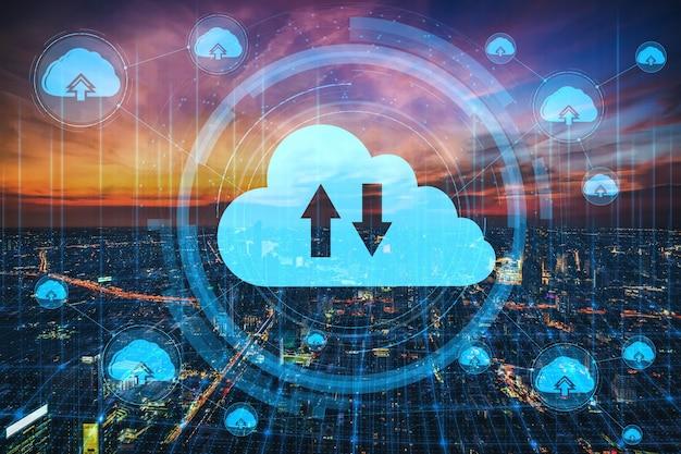 Cloud computing-technologie en online gegevensopslag voor bedrijfsnetwerkconcept.
