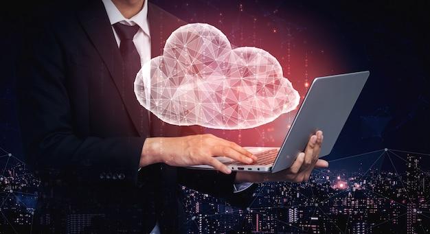 Cloud computing-technologie en online gegevensopslag voor bedrijfsnetwerkconcept