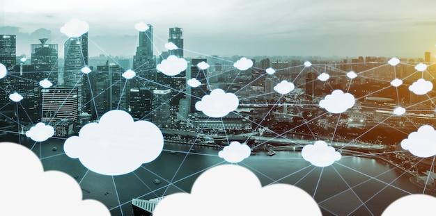 Cloud computing-technologie en online gegevensopslag voor het wereldwijd delen van gegevens