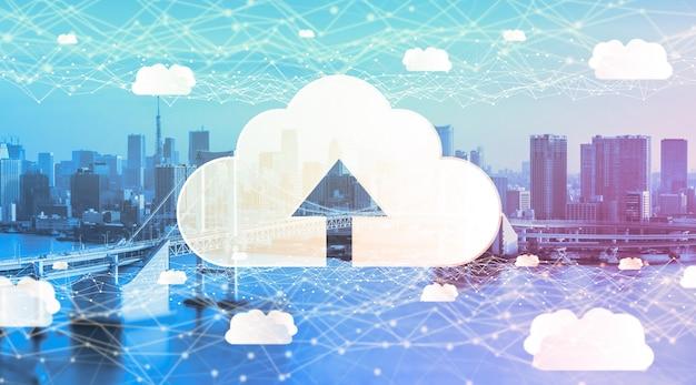 Cloud computing-technologie en online gegevensopslag voor wereldwijde gegevensuitwisseling