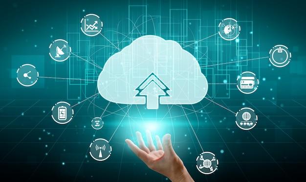 Cloud computing-technologie en online gegevensopslag voor wereldwijde informatie-uitwisseling