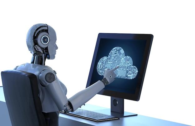 Cloud computing-technologie met 3d-rendering robot met circuit cloud