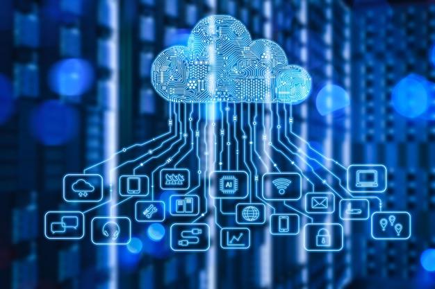 Cloud computing-technologie met 3d-rendering serverruimte en grafische weergave