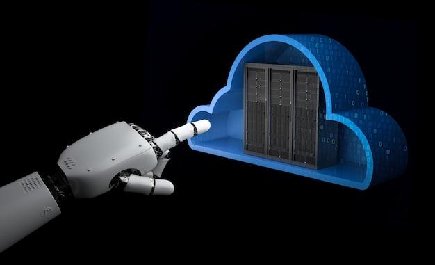 Cloud computing-technologie met 3d-renderingserver in de cloud met robothand