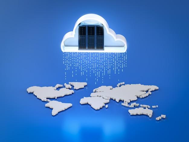 Cloud computing-technologie met 3d-renderingserver met cloud