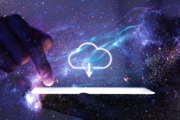 Cloud netwerk hand met behulp van telefoon technologie remix galaxy