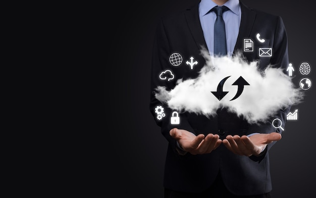 Cloud technologie. cloudopslagbord met twee pijlen op en neer op donker. cloud computing, big datacenter, toekomstige infrastructuur, digitaal ai-concept. virtueel hosting symbool