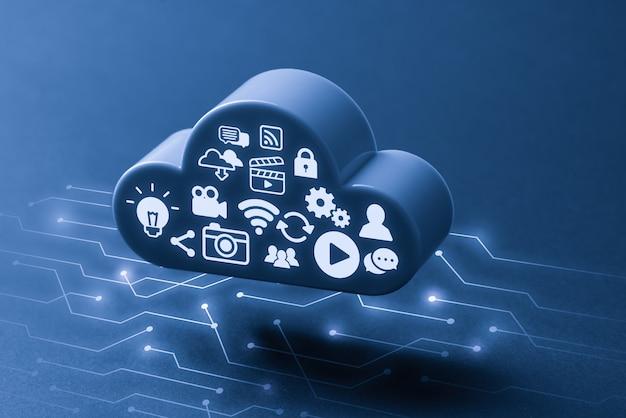 Cloud technologie pictogram voor wereldwijde bedrijfsconcept
