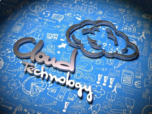Cloud technologie slogan gemaakt van metaal op blauwe achtergrond met handgeschreven tekens