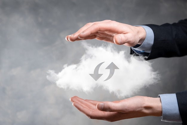 Cloud-technologie. veelhoekig draadframe cloudopslagbord met twee pijlen omhoog en omlaag op donker. cloud computing, big datacenter, toekomstige infrastructuur, digitaal ai-concept. virtueel hosting-symbool.