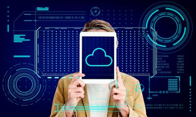 Cloudopslag netwerkserver online back-up afbeelding