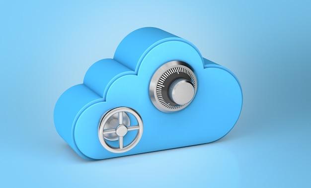 Cloudopslag veilig. combinatieslot als veiligheids- en wachtwoordsymbool. blauwe achtergrond. 3d render.