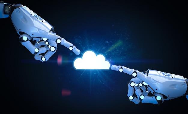 Cloudopslagtechnologie met 3d-renderingwolk met robothand