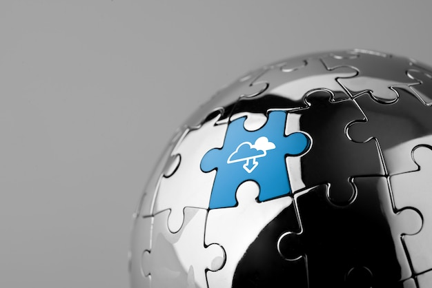 Cloudtechnologiepictogram voor wereldwijde bedrijven