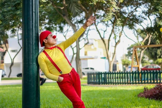 Clown zit galant op een paal in een park