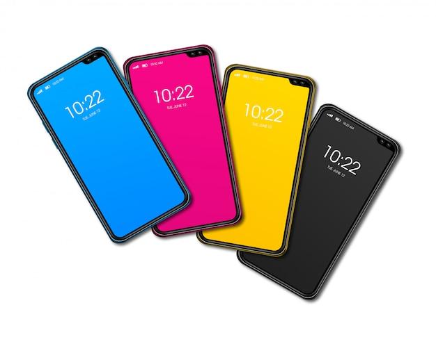 Cmyk-smartphone set geïsoleerd op een witte achtergrond. 3d renderen