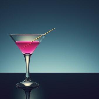 Cocktail met tandenstoker op donkere achtergrond. 3d render