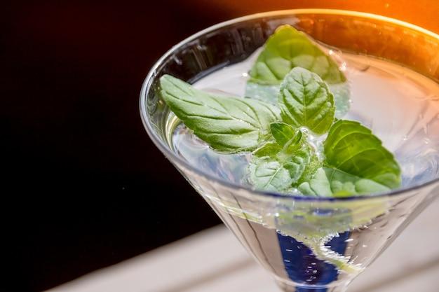 Cocktail soda water met munt, pepermunt bladeren. koud verfrissende zomerdrank