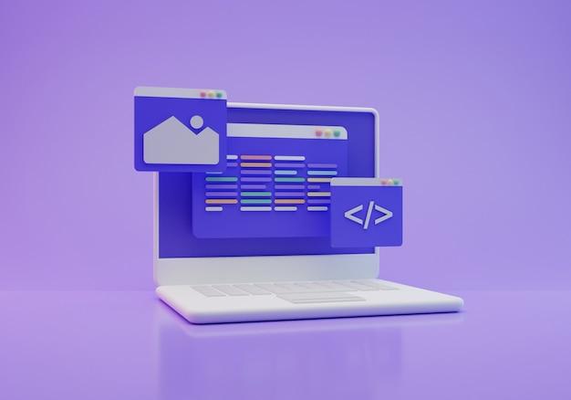 Coderingsscherm 3d-rendering
