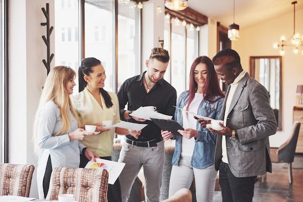 Coffee break business cafe celebration event party. teamwork brainstormen concept