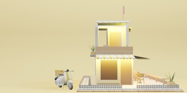 Coffeeshopmodel restaurantmodel en bezorgdiensten cartoonafbeeldingen 3d-illustraties