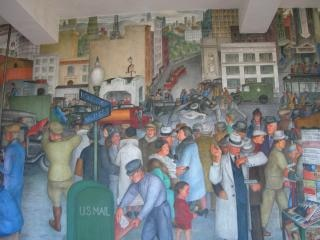 Coit muurschildering straatbeeld