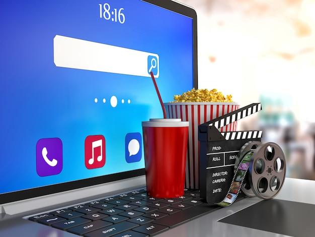 Cola, popcorn en laptop. 3d-beeld