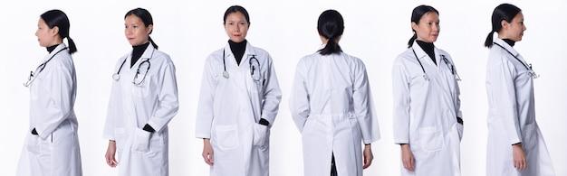 Collage groep half lichaam figuur van 40s 50s aziatische lgbtqia+ doctor woman draag laboratoriumjas, stethoscoop. medische vrouw staat en draait 360 rond achterzijde achteraanzicht over witte achtergrond geïsoleerd
