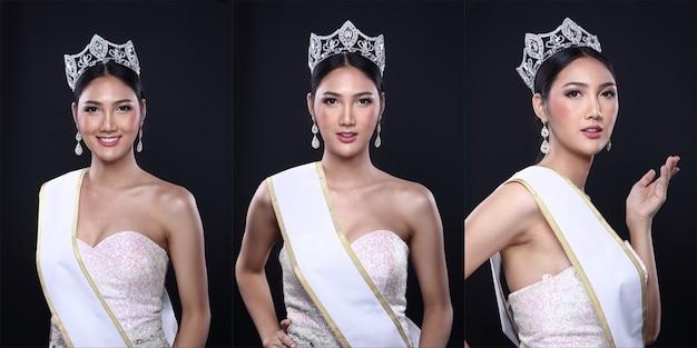 Collage groep pack van miss pageant contest in aziatische avond baljurk jurk met diamond crown lege sjerp, mode make-up gezicht ogen liefde hart kapsel, verlichting zwarte donkere achtergrond kopie ruimte