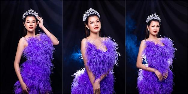 Collage groep portret van miss pageant schoonheidswedstrijd in paarse veren avond baljurk met diamanten kroon, aziatische vrouw voelt gelukkige glimlach en vormt veel verschil stijl over donkere achtergrond rook