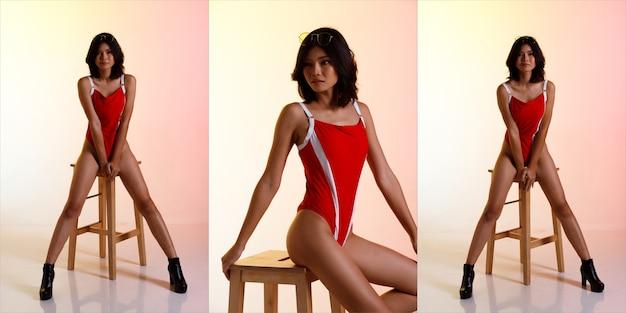 Collage groep volledige lengte figuur van 20s aziatische vrouw zwart kort haar dragen badmode hoog been in rood en schoenen. meisje zit op houten kruk en mode poseert over pastelroze geeloranje achtergrond