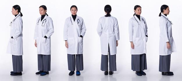 Collage groep volledige lengte figuur van 40s 50s aziatische lgbtqia+ doctor woman draag laboratoriumjas, stethoscoop. medische vrouw staat en draait 360 rond achterzijde achteraanzicht over witte achtergrond geïsoleerd
