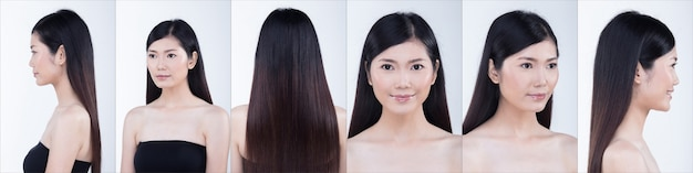 Collage groepspakket van aziatische vrouw na het aanbrengen van make-up kapsel. geen retouche, fris gezicht met mooie gladde huid. studio verlichting witte achtergrond