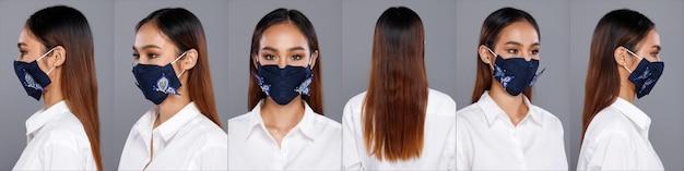 Collage group half body portret van 20s aziatische vrouw zwart bruin lang haar wit shirt. office girl draait 360 rond de achterkant, de achterkant ziet eruit, draag een beschermend gezichtsmasker over een grijze geïsoleerde achtergrond