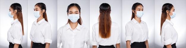 Collage group half body portret van 20s aziatische vrouw zwart bruin lang haar wit shirt. office girl draait 360 rond de achterkant, de achterkant ziet eruit, draag een beschermend gezichtsmasker over een witte achtergrond geïsoleerd