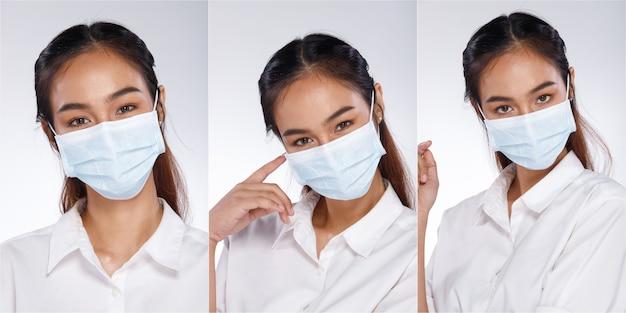 Collage group half body portret van 20s aziatische vrouw zwart haar wit overhemd. office girl draagt een beschermend gezichtsmasker met veel kijkhoeken over een witte achtergrond geïsoleerd
