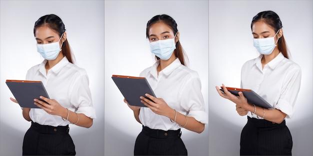 Collage group half body portret van 20s aziatische vrouw zwart haar wit overhemd. office girl gebruik digitale tablet voor bedrijven, draag een beschermend gezichtsmasker over een witte achtergrond geïsoleerd