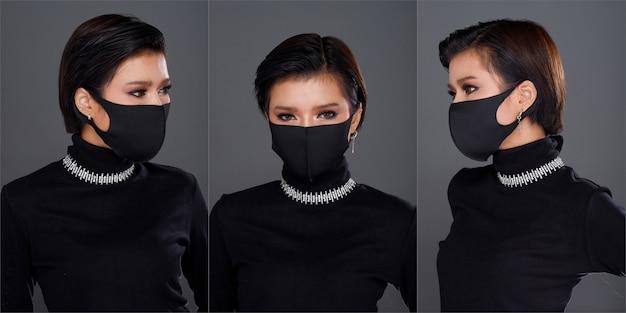 Collage group half body portret van 20s aziatische vrouw zwart haar zwarte coltrui jurk. fashion girl poseert veel blikken, cosmetisch op ogen, draag beschermend gezichtsmasker over grijze geïsoleerde achtergrond