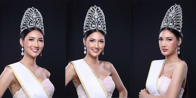 Collage group pack portret van miss pageant contest in aziatische avondbaljurk jurk met diamond crown lege sjerp, mode make-up gezicht ogen liefde hart kapsel, zwarte donkere achtergrond kopie ruimte