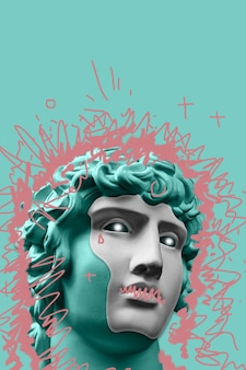 Collage met gips antiek beeld van menselijk gezicht in een pop-art stijl. modern creatief conceptenbeeld met oud standbeeldhoofd. zine cultuur. hedendaagse kunstaffiche. funky minimalisme. retro-ontwerp.