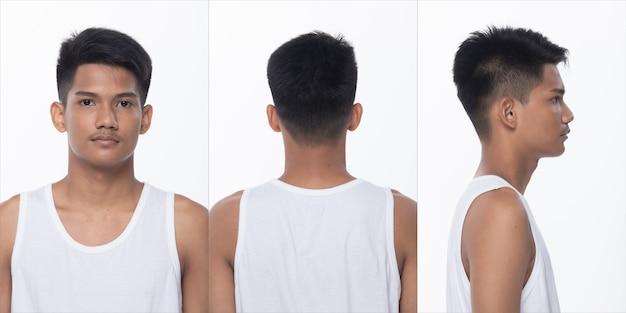 Collage pack groep aziatische tiener man na make-up kapsel. geen retoucheren, mode gezicht, veel voelen en poseren. studio verlichting witte achtergrond geïsoleerd, achterzijde achteraanzicht