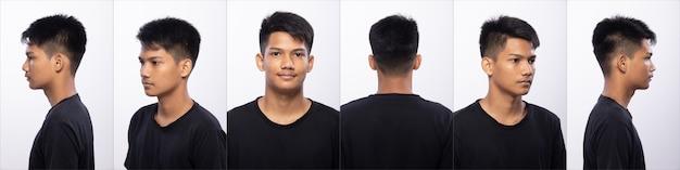 Collage pack groep aziatische tiener man voor make-up kapsel. geen retouche, fris gezicht met mooie gladde huid. achterzijde achteraanzicht studio verlichting witte achtergrond geïsoleerd.