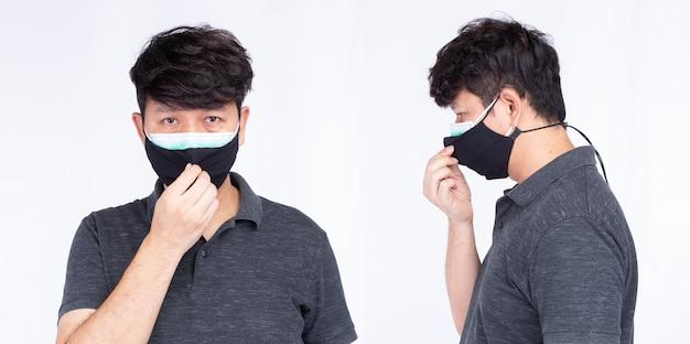 Collage twee foto van portret van aziatische man met chirurgisch gezichtsmasker twee lagen twee stukken