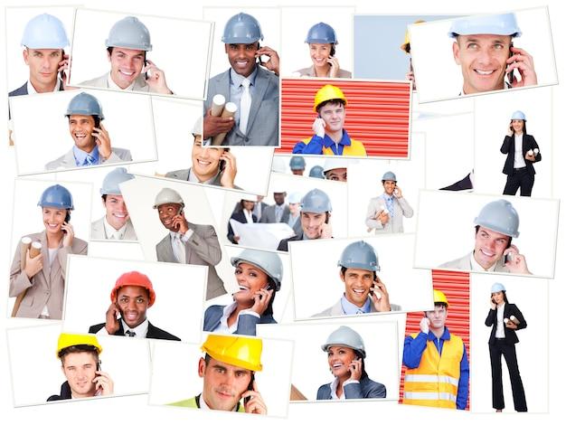 Collage van bedrijfsmensen die terwijl het zijn op het gebied telefoneren
