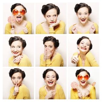 Collage van dezelfde vrouw die verschillende uitdrukkingen maakt