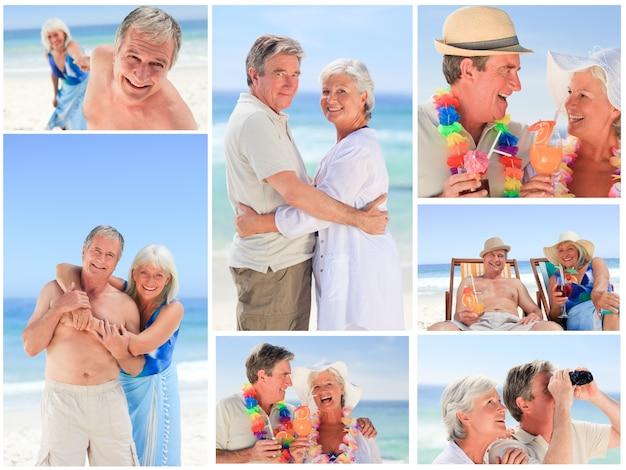 Collage van een volwassen paar op het strand