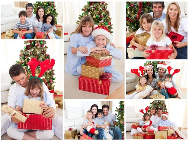 Collage van families die kerstmis samen thuis vieren