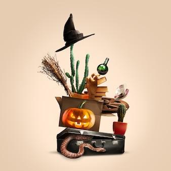 Collage van halloween-heksenuitrusting op zachte bruine achtergrond, saints' eve-stemming. pumpking, slangen, hoed, boeken, bezem. zwarte vrijdag, verkoopconcept. kopieerruimte. oktober, herfsttijd. creatief kunstwerk.